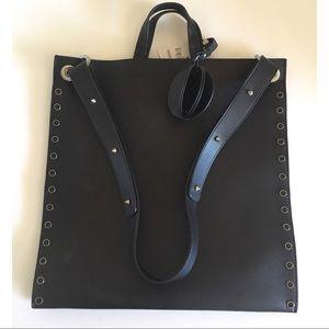 Zara Black Tote Handbag Studded with Charm